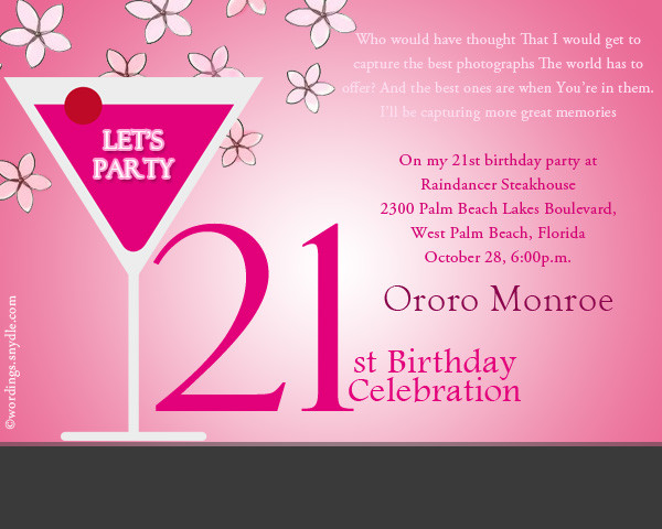 Best ideas about Birthday Party Invitation Message . Save or Pin 21st Birthday Party Invitation Wording Wordings and Messages Now.