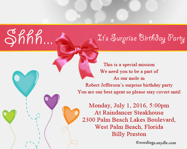 Best ideas about Birthday Party Invitation Message . Save or Pin Surprise Birthday Party Invitation Wording Wordings and Now.
