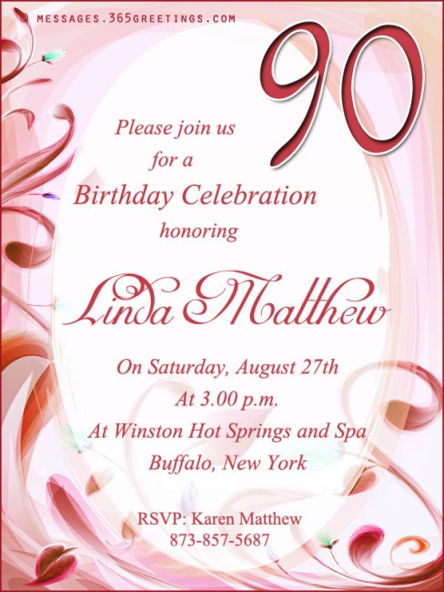 Best ideas about Birthday Party Invitation Message . Save or Pin 90th Birthday Invitation Wording 365greetings Now.