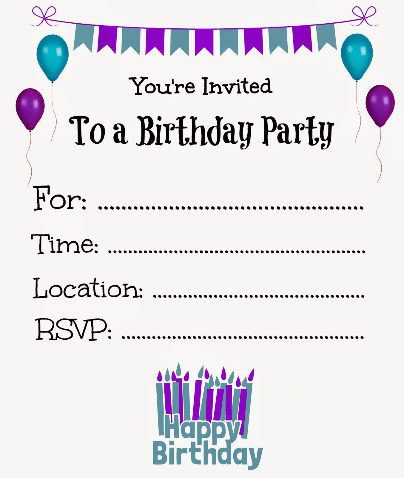 Best ideas about Birthday Party Invitation Template . Save or Pin Free Printable Birthday Invitations For Kids Now.