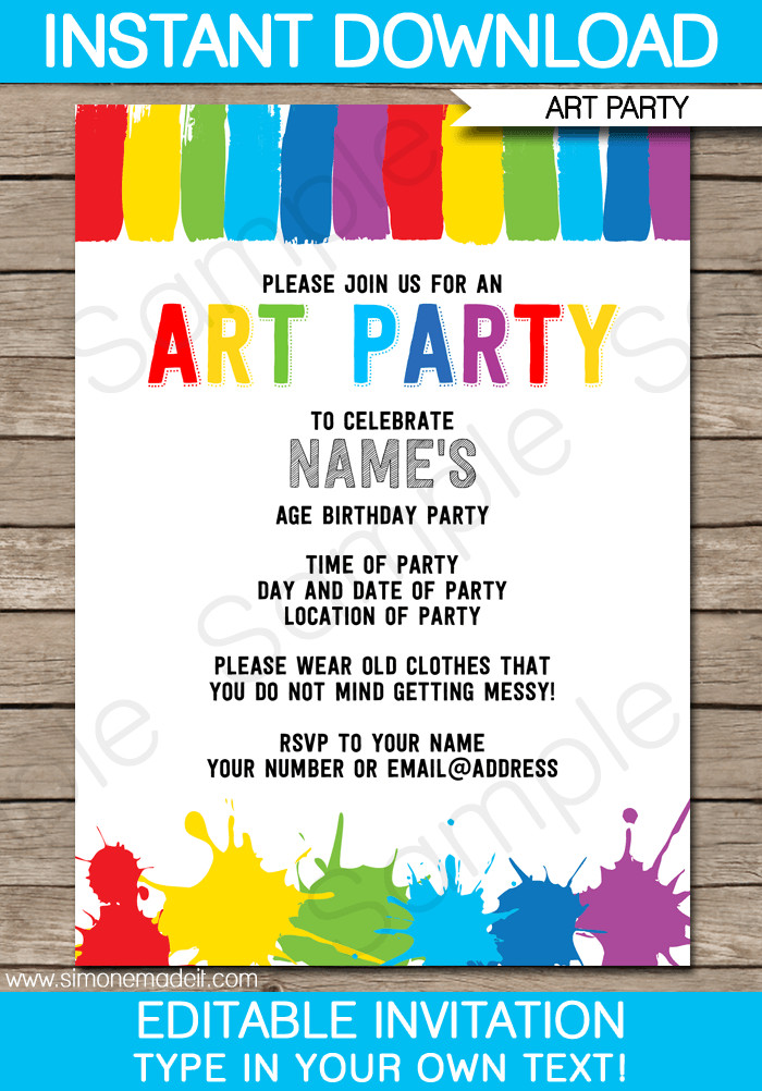 Best ideas about Birthday Party Invitation Template . Save or Pin Art Party Invitations Template Now.