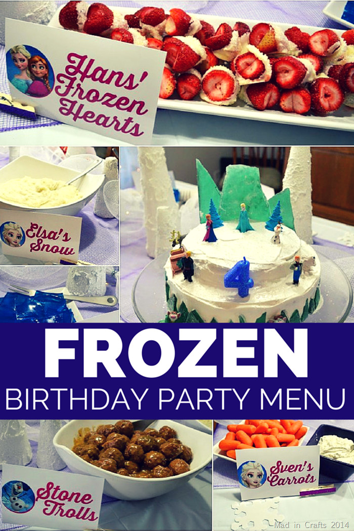 Best ideas about Birthday Party Menu . Save or Pin FROZEN BIRTHDAY PARTY MENU Mad in Crafts Now.