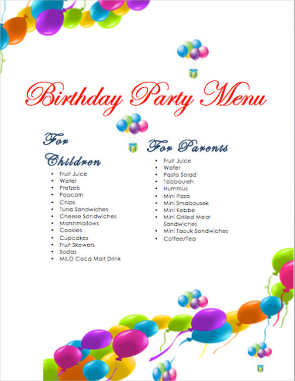 Best ideas about Birthday Party Menu . Save or Pin 21 Birthday Menu Templates PSD EPS InDesign Now.