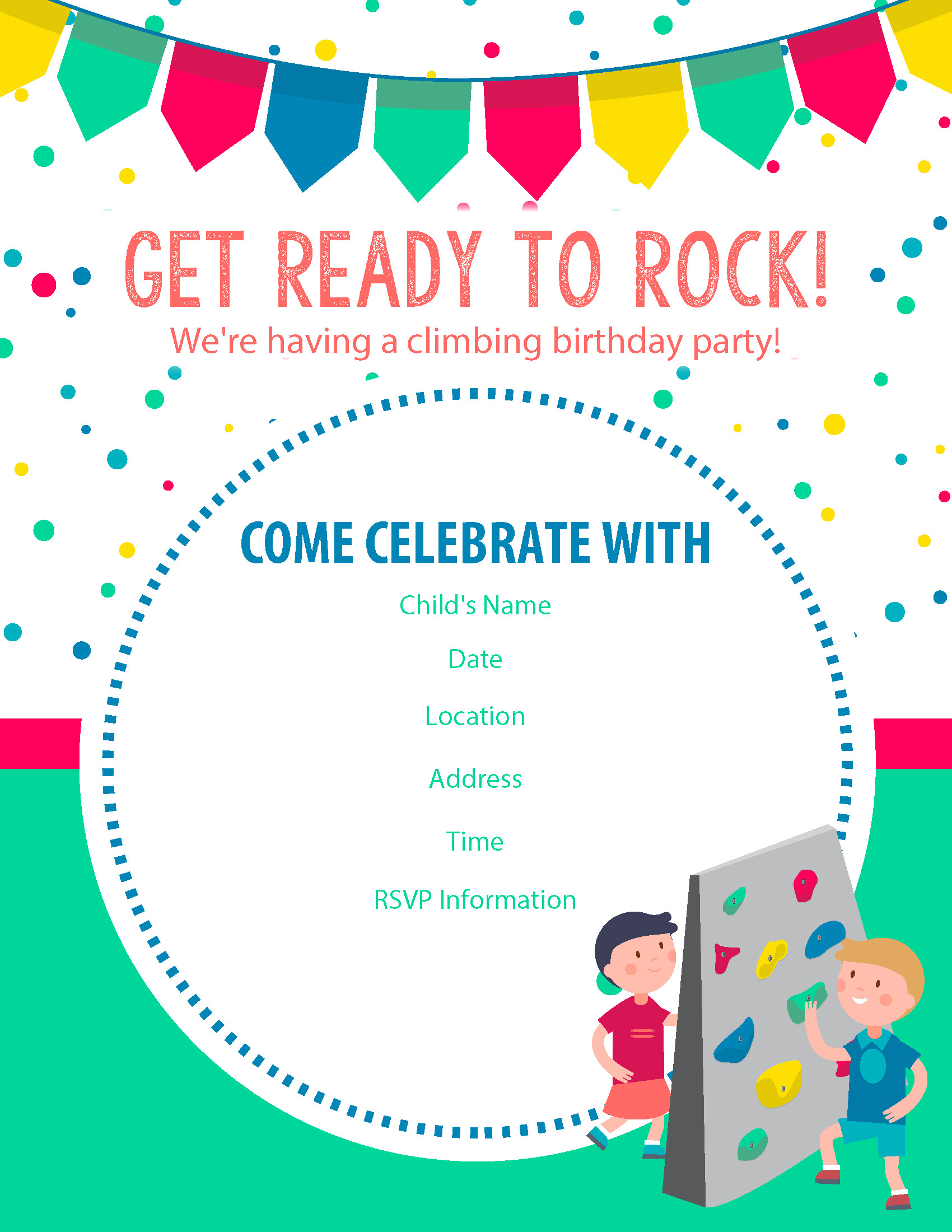 Best ideas about Birthday Party Templates . Save or Pin Happy Birthday Free Rock Climbing Birthday Party Invitations Now.