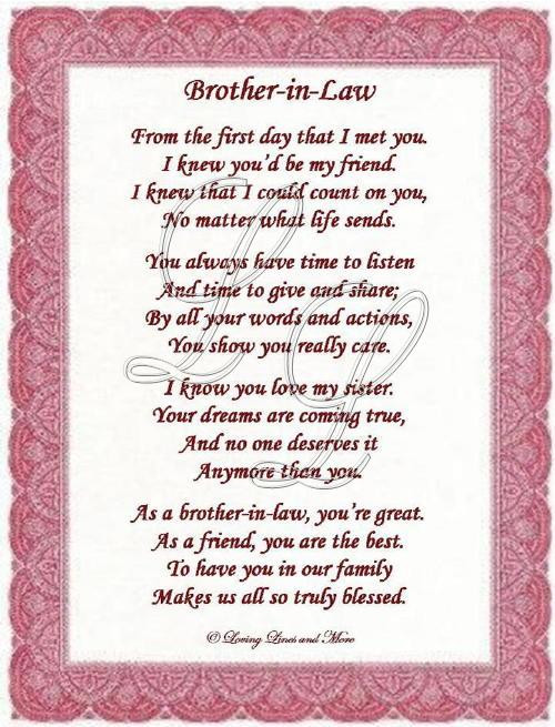 Best ideas about Birthday Quotes For Brother In Law . Save or Pin Brother In Law Poem Now.