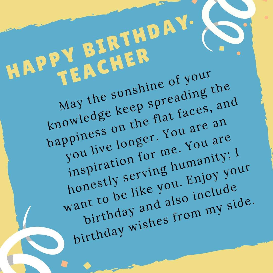 """Best ideas about Birthday Quotes For Teacher . Save or Pin Best """"Birthday Wishes For Teacher"""" Quotes Messages Now."""