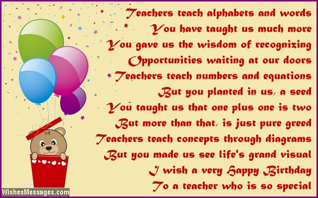Best ideas about Birthday Quotes For Teacher . Save or Pin Birthday poems for teacher – WishesMessages Now.
