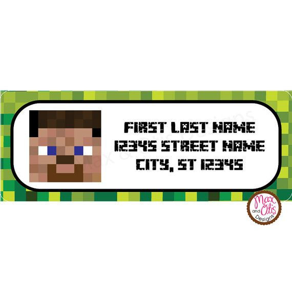 Best ideas about Birthday Return Gifts Under $5 . Save or Pin Minecraft Steve Printable Address Labels by maxandotis on Now.