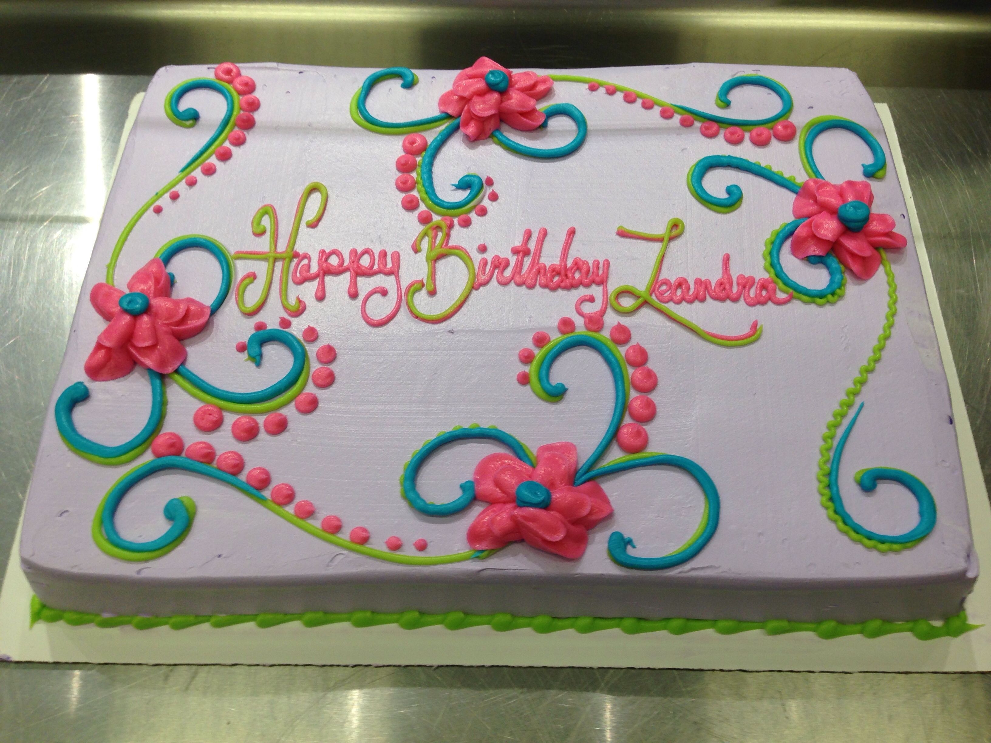 Best ideas about Birthday Sheet Cake . Save or Pin Scrolls and flowers girly birthday cake Now.