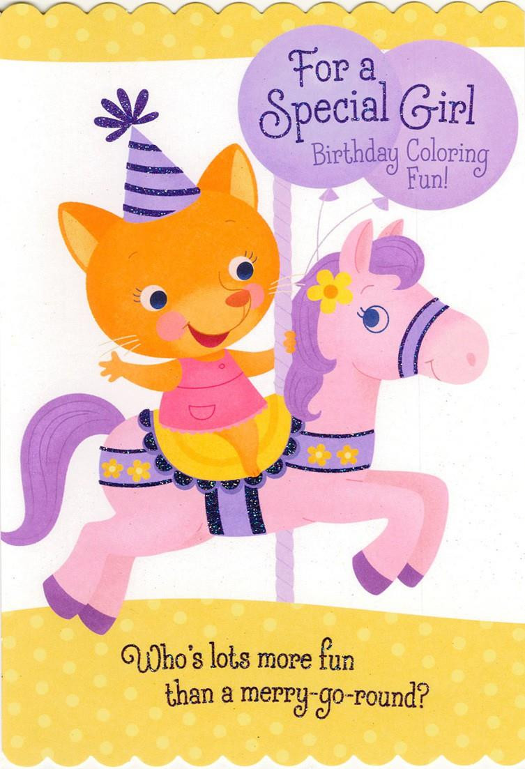 Best ideas about Birthday Wish Hallmark . Save or Pin Birthday Girl Carousel Coloring Birthday Card Greeting Now.