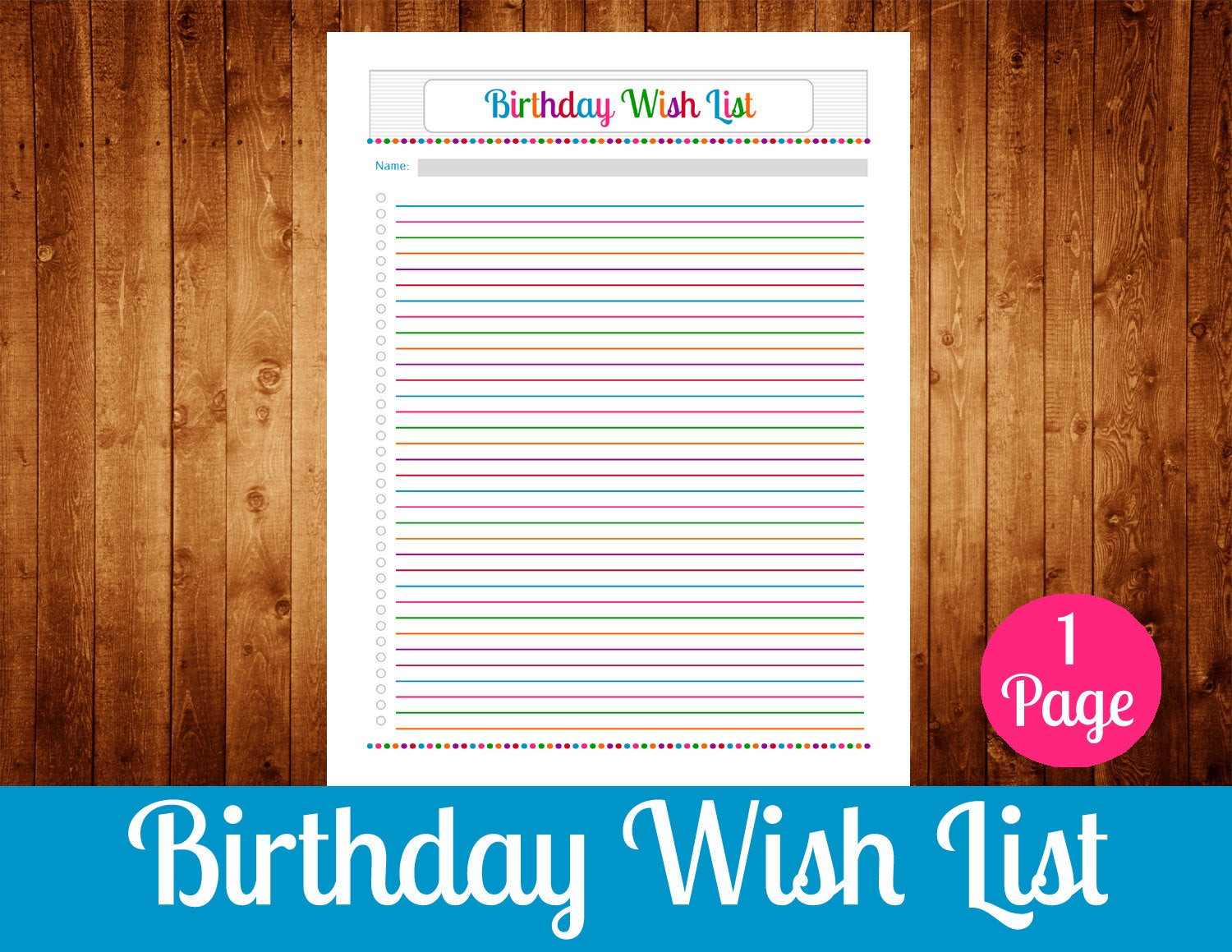 Best ideas about Birthday Wish List . Save or Pin Birthday Wish List Instant Download PDF Printable Now.