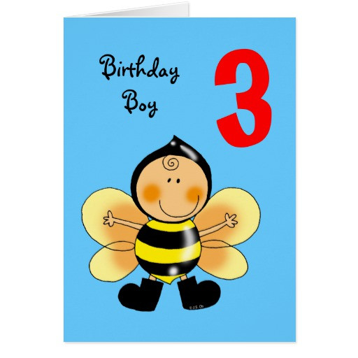 Best ideas about Birthday Wishes For 3 Year Old . Save or Pin 3 year old birthday boy greeting card Now.