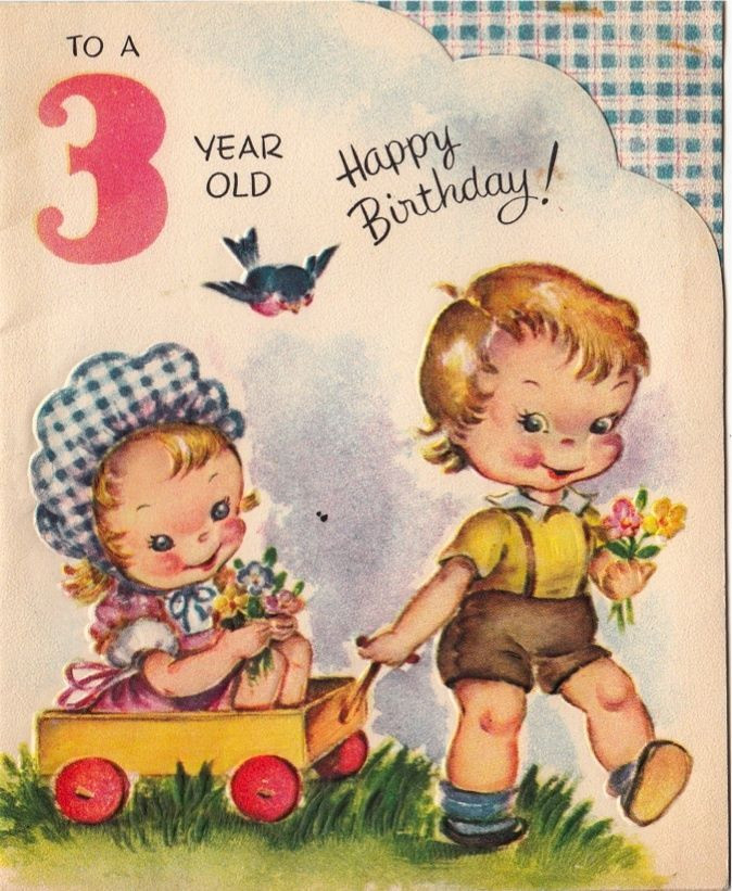 Best ideas about Birthday Wishes For 3 Year Old . Save or Pin Vintage Greeting Card Children Boy Girl Age 3 Three Year Now.
