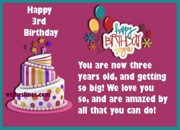 Best ideas about Birthday Wishes For 3 Year Old . Save or Pin 3rd Birthday Wishes Birthday Messages Three Year Old Baby Now.