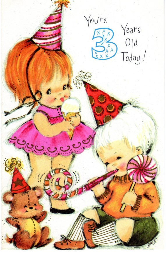 Best ideas about Birthday Wishes For 3 Year Old . Save or Pin Items similar to CHILD Birthday Card Teddy Bear For Three Now.