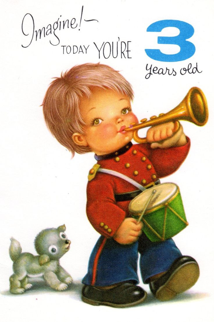 Best ideas about Birthday Wishes For 3 Year Old . Save or Pin Vintage Birthday Card Chubby Cheek Boy For Three 3 Year Now.
