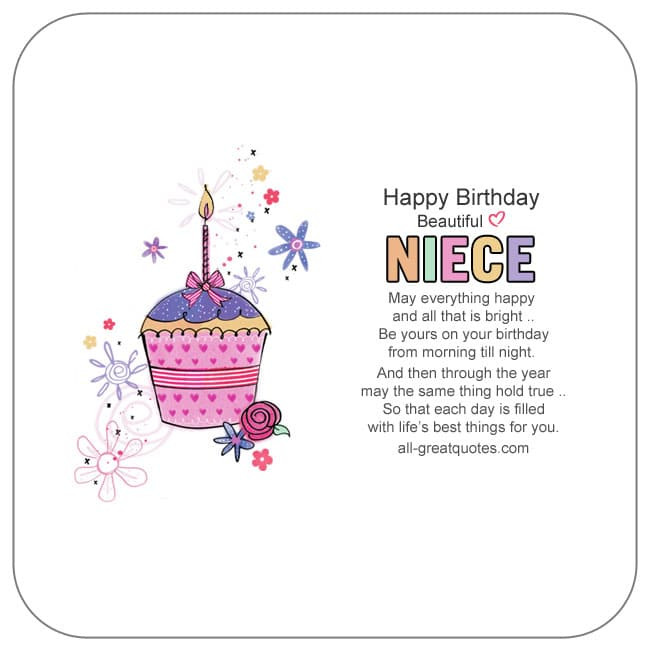 Best ideas about Birthday Wishes For Aunt From Niece . Save or Pin Birthday Poems for Niece birthday wishes for Niece Now.