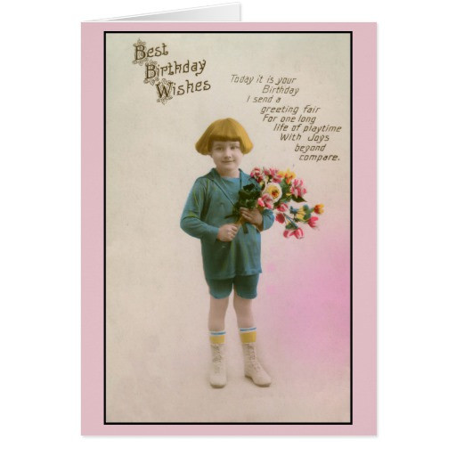 Best ideas about Birthday Wishes For Little Boy . Save or Pin Vintage little boy best birthday wishes card Now.