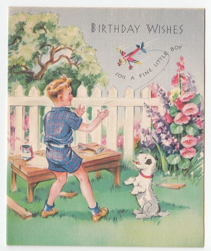 Best ideas about Birthday Wishes For Little Boy . Save or Pin Vintage Greeting Card Little Boy Puppy Dog Birthday Plane Now.