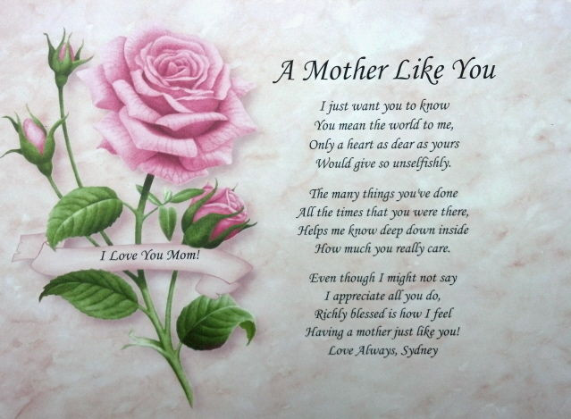 Best ideas about Birthday Wishes For Mom Who Has Passed Away . Save or Pin A MOTHER LIKE YOU PERSONALIZED POEM FOR MOM BIRTHDAY Now.