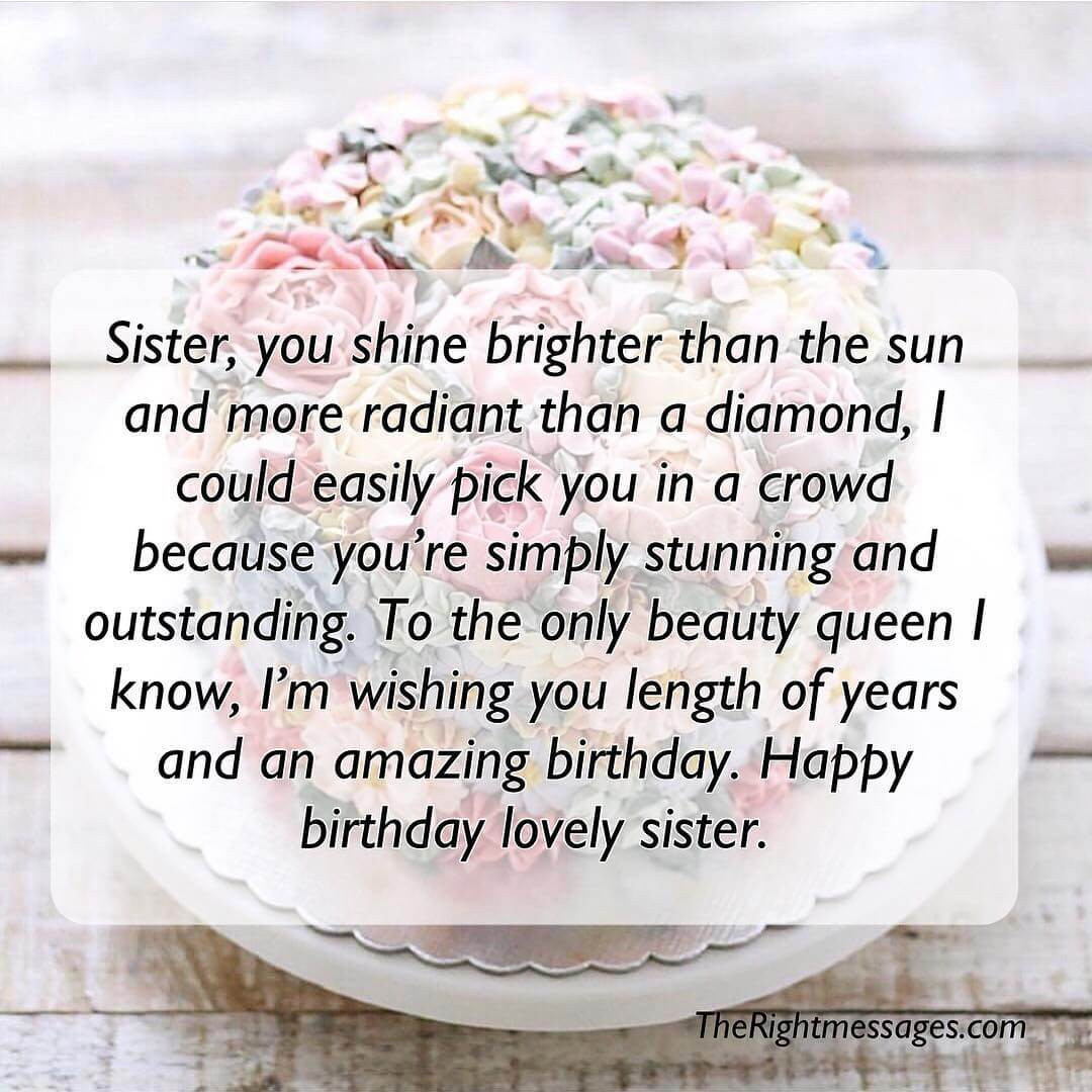 Best ideas about Birthday Wishes For My Sister . Save or Pin Short And Long Birthday Messages Wishes & Quotes For Now.