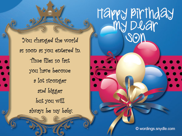 Best ideas about Birthday Wishes For Son . Save or Pin Birthday Wishes for Son Wordings and Messages Now.