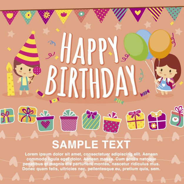 Best ideas about Birthday Wishes Images Free Download . Save or Pin Happy birthday card template Vector Now.