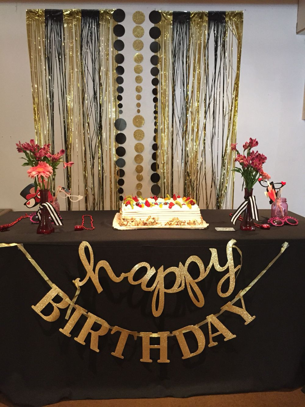 Best ideas about Black And Gold Birthday Decorations . Save or Pin Gold and black backdrop Birthday Party Now.