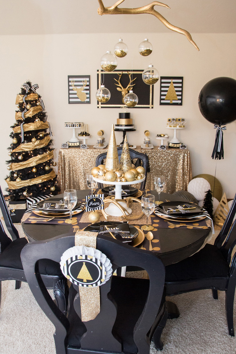 Best ideas about Black And Gold Birthday Decorations . Save or Pin Black & Gold Christmas Party Lillian Hope Designs Now.