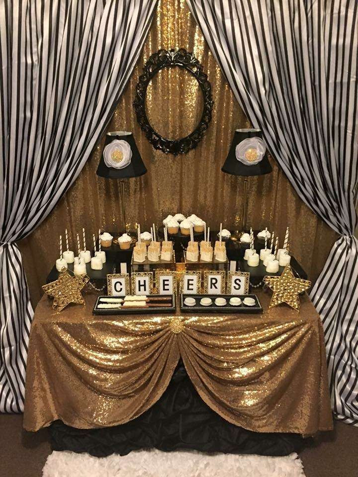 Best ideas about Black And Gold Birthday Decorations . Save or Pin Black and White Stripes with Gold Sparkle Birthday Party Ideas Now.