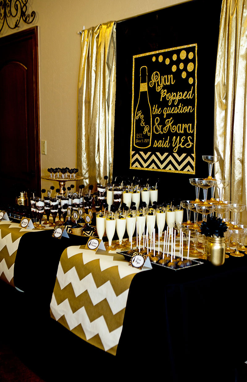 Best ideas about Black And Gold Birthday Decorations . Save or Pin Black and Gold Bridal Shower Lillian Hope Designs Now.