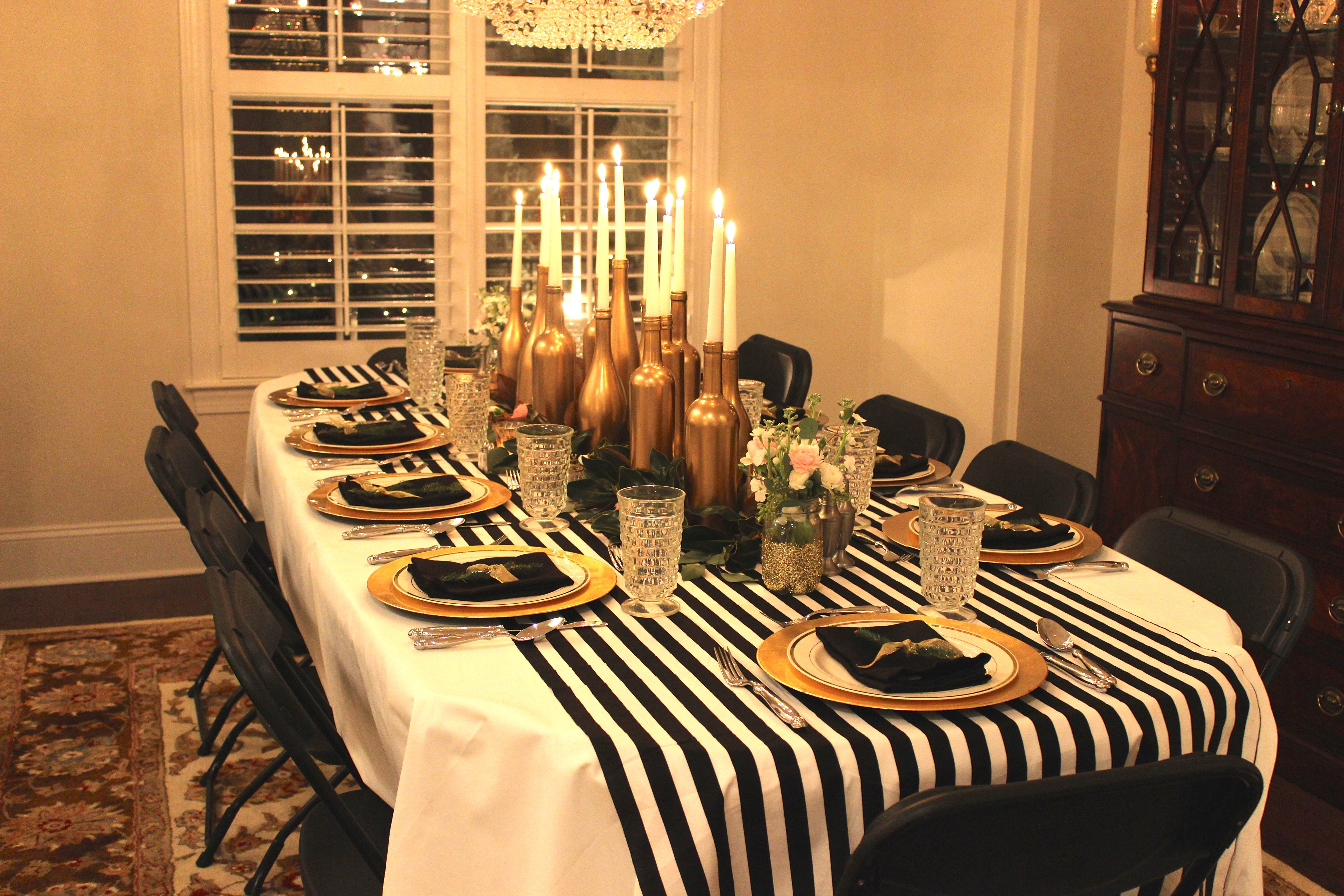 Best ideas about Black And Gold Birthday Decorations . Save or Pin Gold Black and White My 30th Birthday Dinner Party Now.
