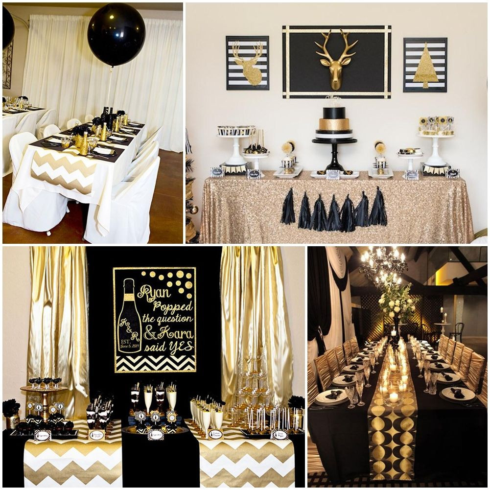 Best ideas about Black And Gold Birthday Decorations . Save or Pin Black And Gold Party Table Decorations Now.