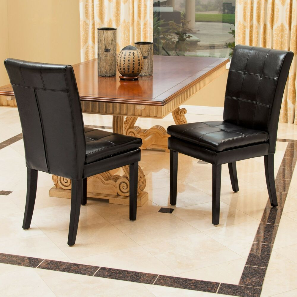 Best ideas about Black Dining Room Chairs . Save or Pin Set of 2 Dining Room Furniture Black Leather Dining Chairs Now.