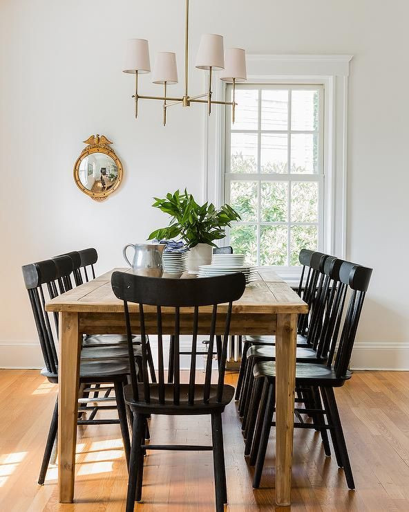 Best ideas about Black Dining Room Chairs . Save or Pin Chic cottage dining room features a farmhouse dining table Now.