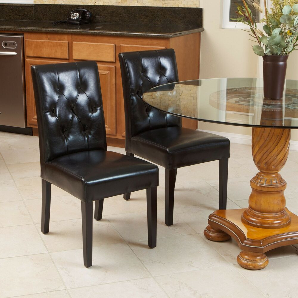 Best ideas about Black Dining Room Chairs . Save or Pin Set of 2 Elegant Black Leather Dining Room Chairs With Now.
