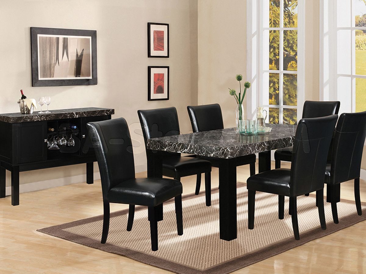 Best ideas about Black Dining Room Chairs . Save or Pin 7 piece black marble dining table Now.