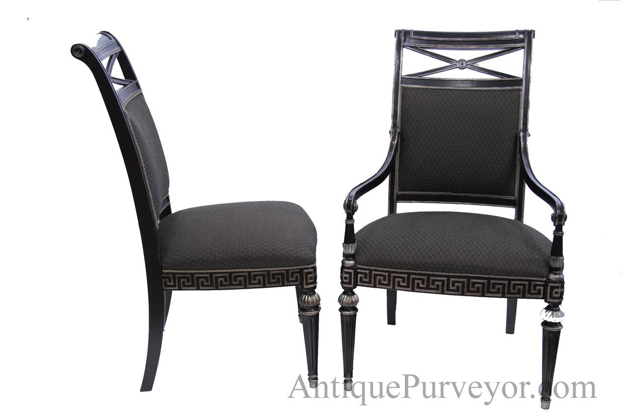 Best ideas about Black Dining Room Chairs . Save or Pin Black Silver Painted Transitional Upholstered Dining Room Now.