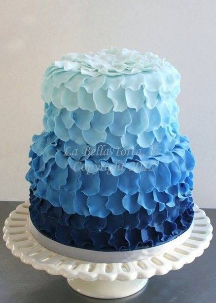 Best ideas about Blue Birthday Cake . Save or Pin Blue petal ruffle ombre cake Now.
