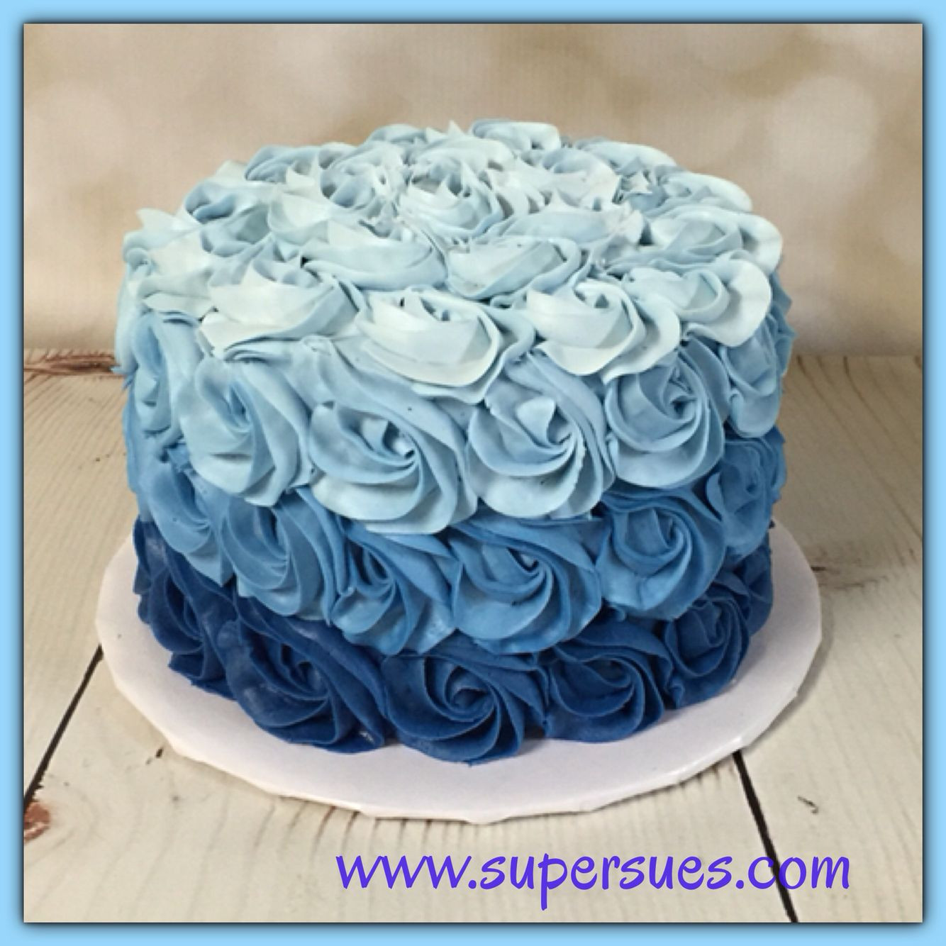 Best ideas about Blue Birthday Cake . Save or Pin Ombre blue buttercream rose smash cake Now.