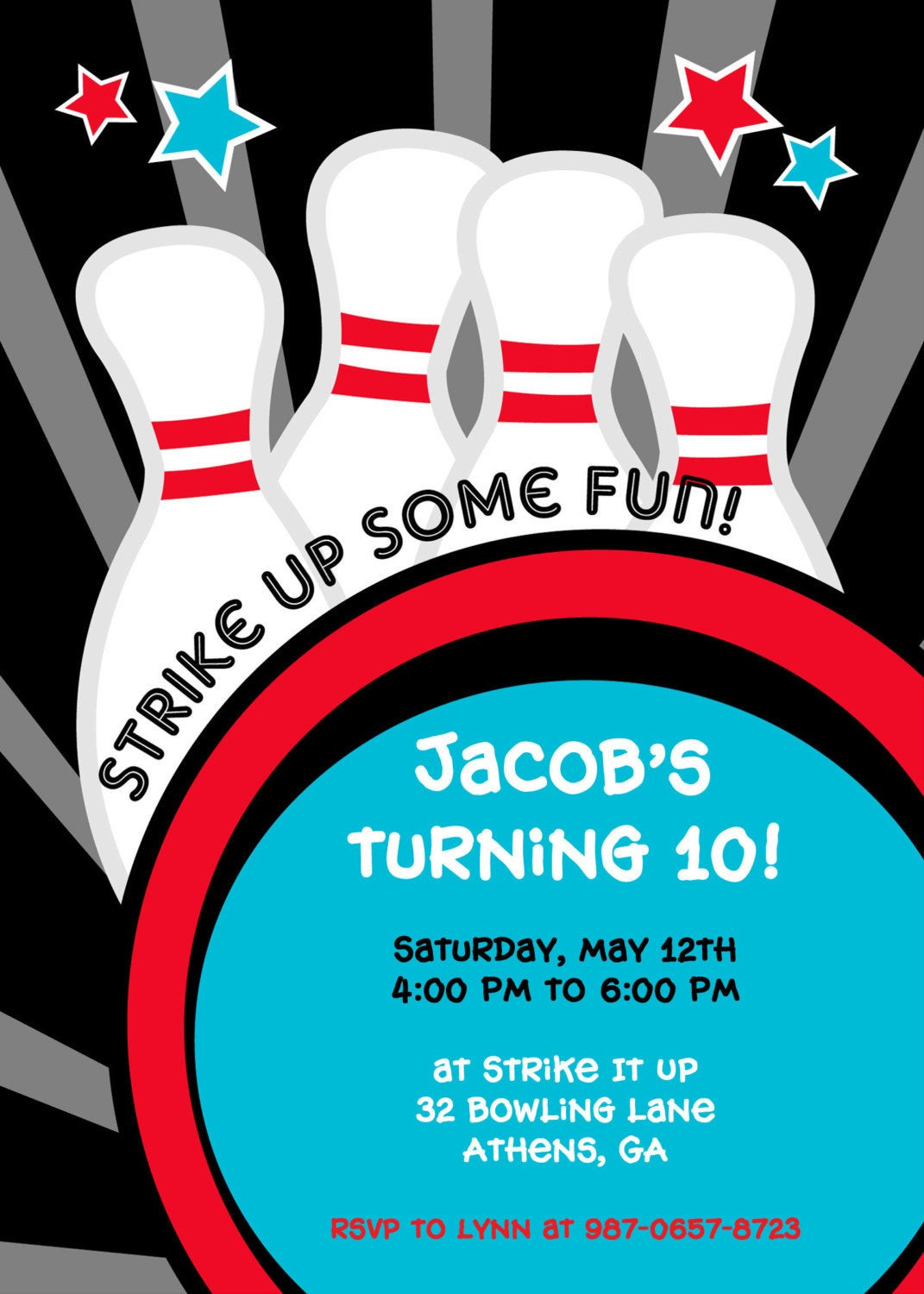 Best ideas about Bowling Birthday Invitations . Save or Pin Strike it up Bowling Party Invitation Now.