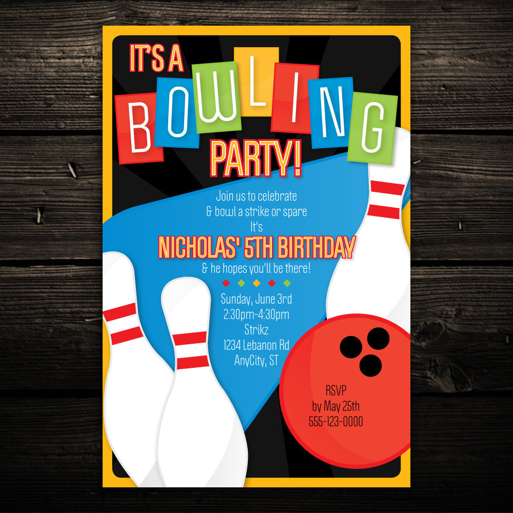 Best ideas about Bowling Birthday Invitations . Save or Pin Printable Bowling Invitation Retro Bowling by Now.