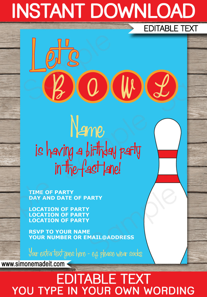 Best ideas about Bowling Birthday Invitations . Save or Pin Bowling Party Invitations Template Now.