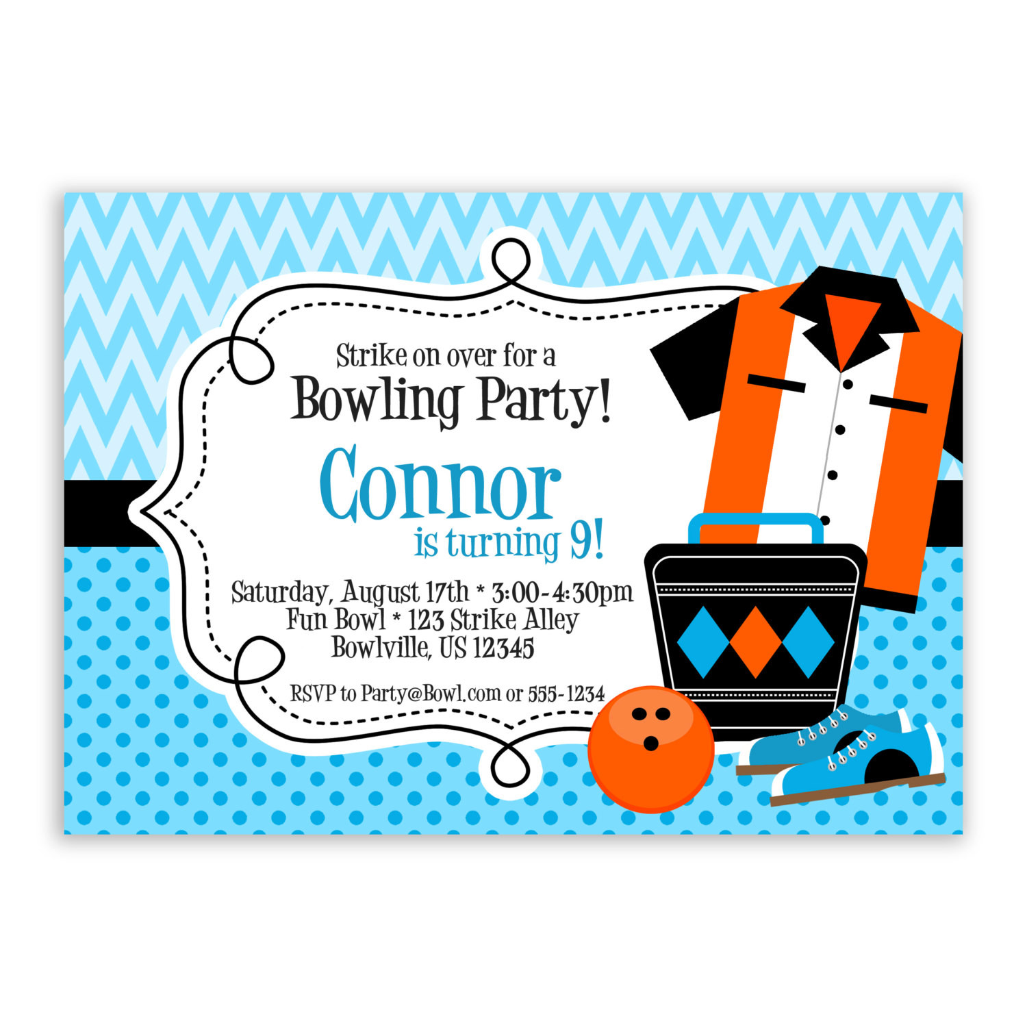 Best ideas about Bowling Birthday Invitations . Save or Pin Bowling Invitation Blue Chevron and Orange Bowling Ball Now.