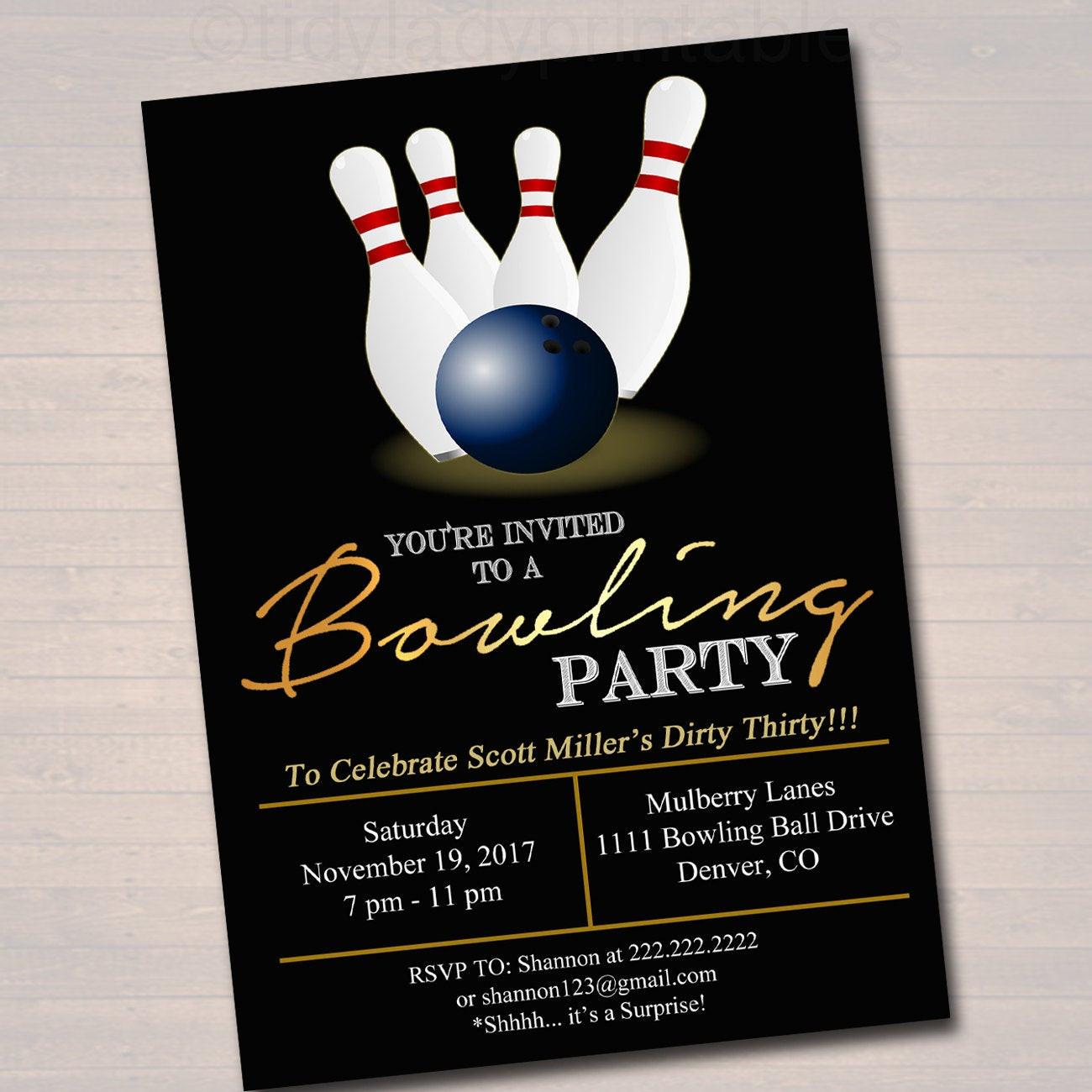 Best ideas about Bowling Birthday Invitations . Save or Pin EDITABLE Adult Bowling Party Invitation Birthday Invitation Now.