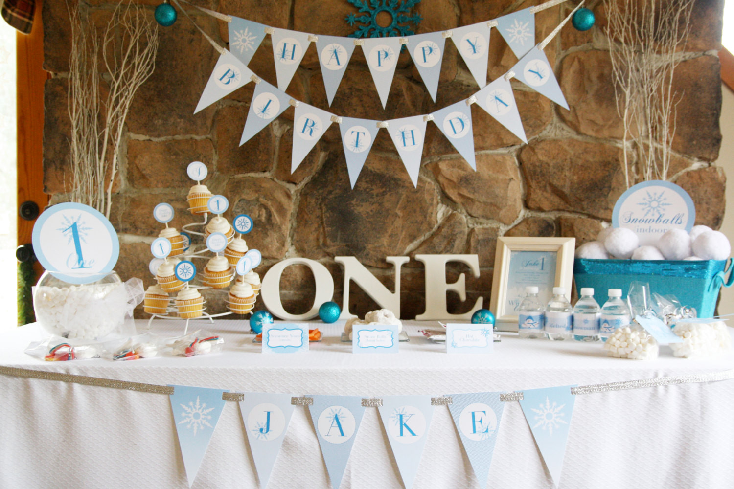 Best ideas about Boy First Birthday Decorations . Save or Pin Winter ONEderland Birthday Party Theme Baby Boy s First Now.