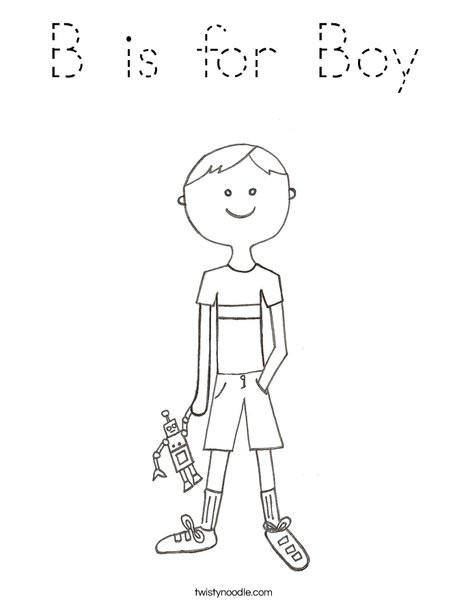 Best ideas about Boys Trace Printable Coloring Sheets . Save or Pin B is for Boy Coloring Page Tracing Twisty Noodle Now.