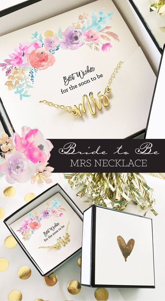 Best ideas about Bridal Shower Gift Ideas For Her . Save or Pin Soon to Be Mrs Necklace Bridal Shower Gift Bride to Be Now.
