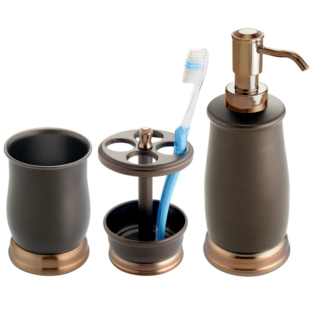 Best ideas about Bronze Bathroom Accessories . Save or Pin 3pc Bathroom Set Soap Pump Toothbrush Holder Cup Bronze Now.
