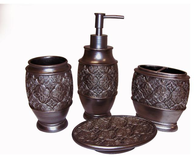 Best ideas about Bronze Bathroom Accessories . Save or Pin Kasbar Bronze Bath Accessory 4 piece Set Contemporary Now.